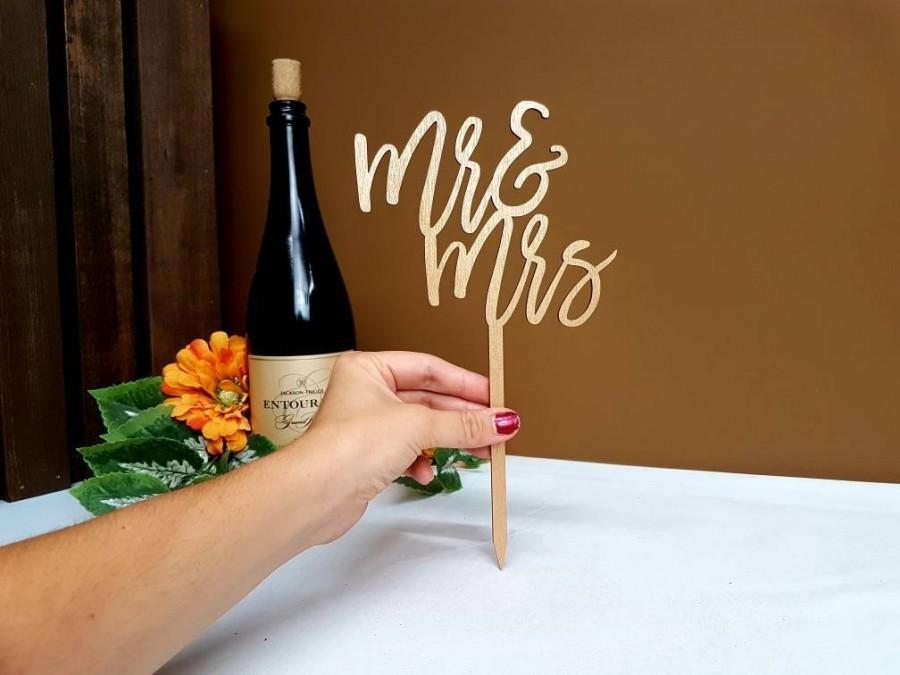 Mariage - Mr and Mrs Cake Topper Gold