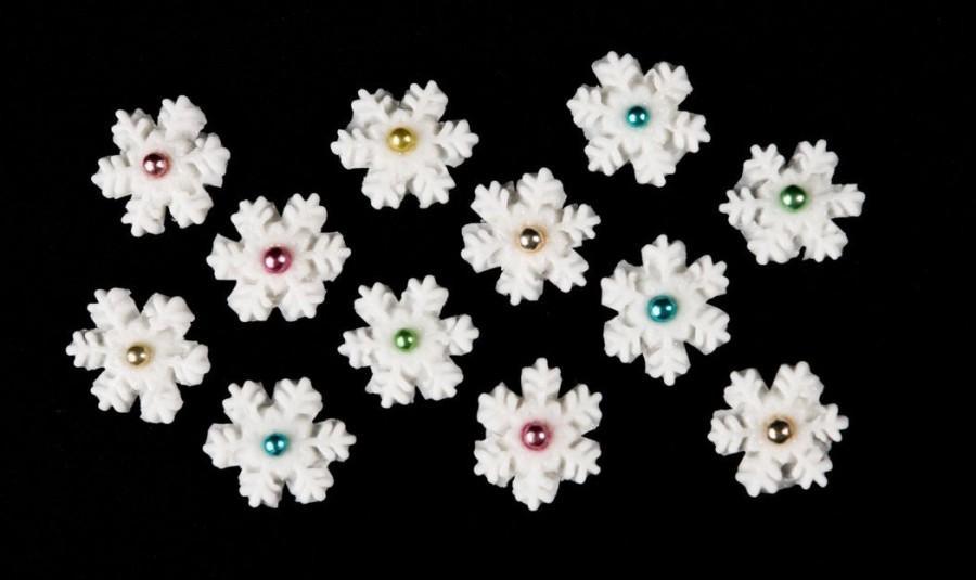Frosty Colorful Snowflakes Fondant Edible Snowflakes Set Of 12 Cake