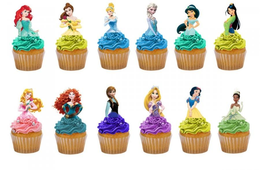 Disney Princess 24 Birthday Half Body Edible Stand Up Cake Toppers Decorations Premium Wafer Card Available Precut Or Uncut