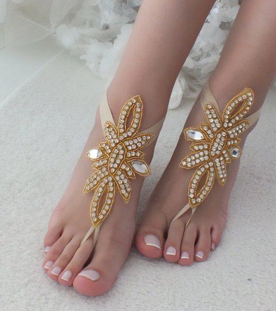 Hochzeit - EXPRESS SHIPPING Gold Rhinestone barefoot sandals bridal anklet Beach wedding barefoot sandal foot accessories Bridal jewelry Bridesmaid