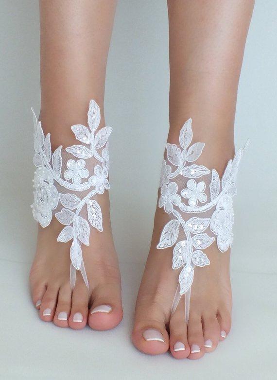 ac797bbfffa Beach Weddings Barefoot Sandals white lace beac shoes Bridesmaids Gift  Bridal Jewelry Wedding Shoes Bangle Bridal Accessories Bridal Anklets