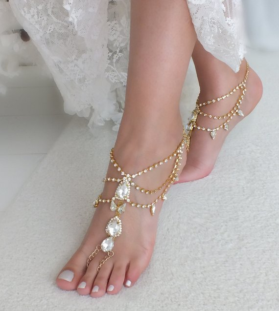 d5123ec08b791 Gold or silver crystal barefoot sandals bridal anklet Beach wedding  barefoot sandal foot accessories Bridal jewelry Bridesmaid gift