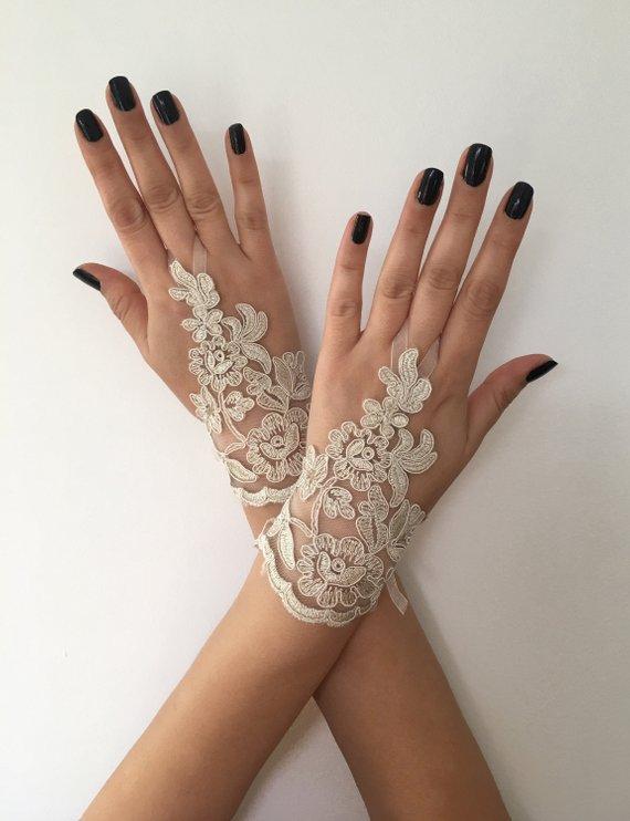 Wedding - Champagne Bridal Glove Wedding Gloves, lace gloves, Ivory bride glove bridal gloves lace gloves fingerless Unique glove