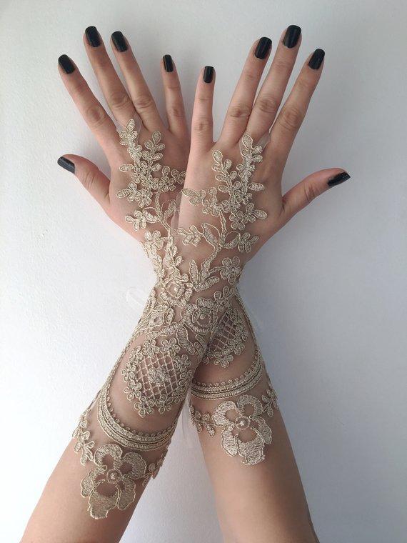 Hochzeit - Wedding Glove Bridal Gloves, Gold lace gloves, Long Lace gloves, bride glove bridal gloves lace gloves fingerless gloves