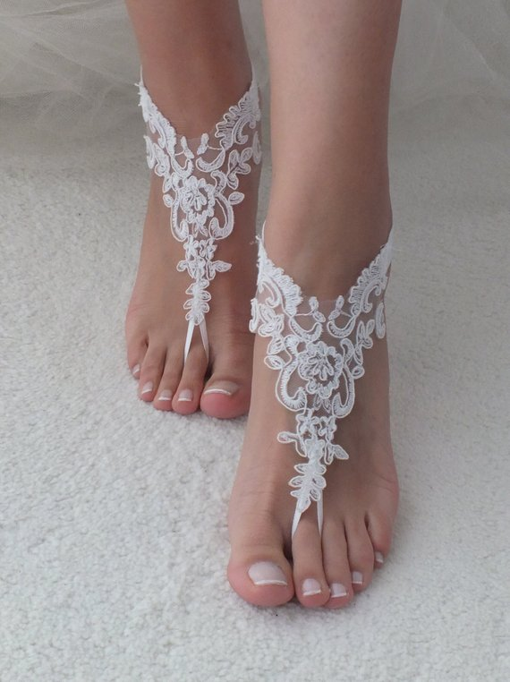 5092956afd30 White or ivory Beach wedding barefoot sandals wedding shoes prom party lace  barefoot sandals bangle beach anklets bride bridesmaid gift