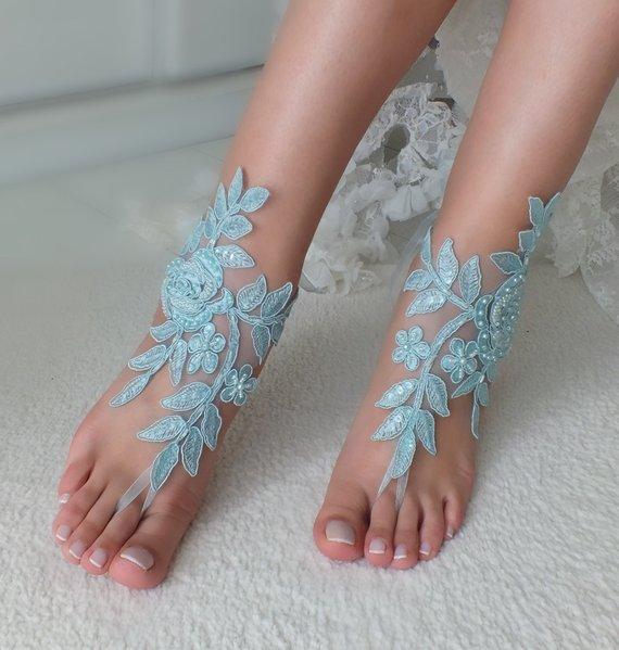 Mariage - Beach Wedding barefoot sandals wedding barefoot something blue lace sandals Bridal anklet foot jewelry Wedding sandals Bridal Gift