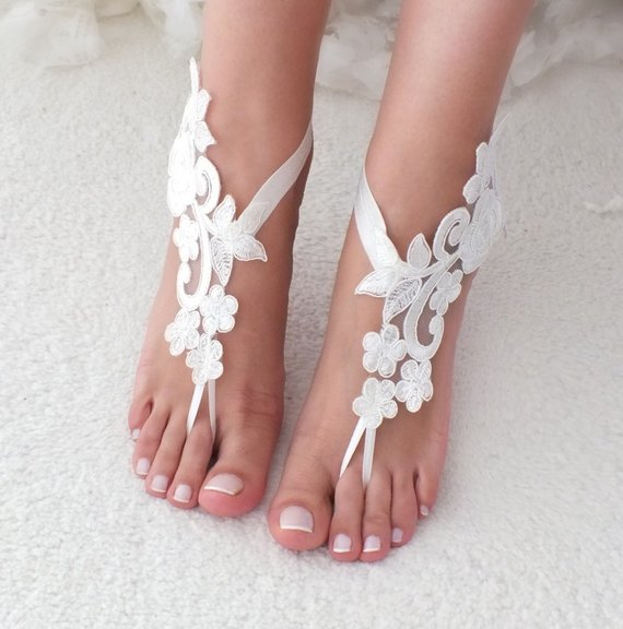 50905ea6b8d0b Ivory Beach Weddings Barefoot Sandals Lace Beac Shoes Bridesmaids ...