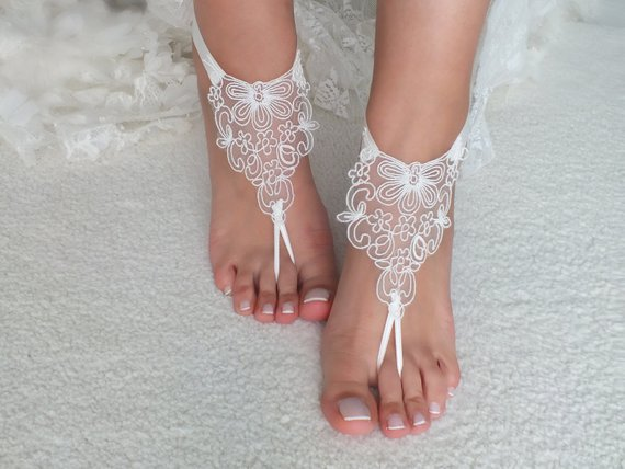 a3fe1ee4fb193 Lace SANDALS Ivory Beach Wedding Barefoot Sandals Wedding Shoes Prom ...