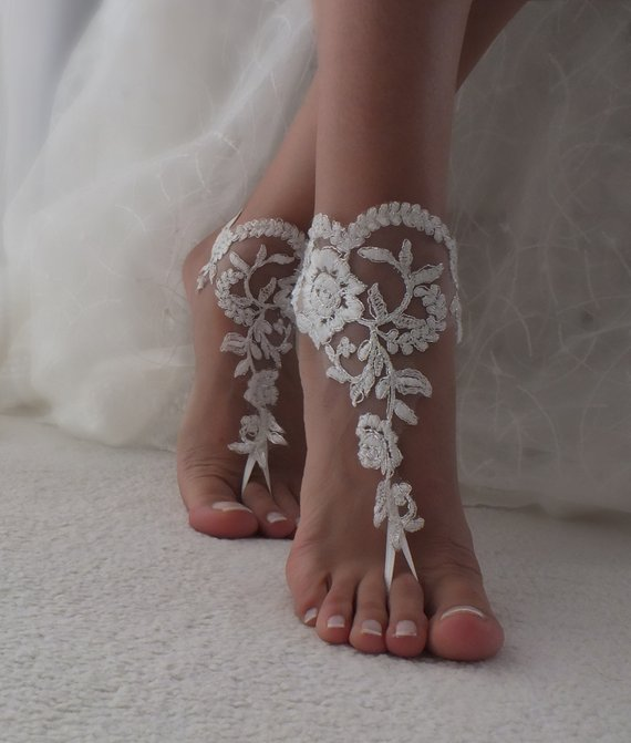 Wedding - EXPRESS SHIPPING Beach Wedding Barefoot Sandals ivory silver lace barefoot sandals beach shoes Bridesmaid Bridal Accessories Bridal Anklets