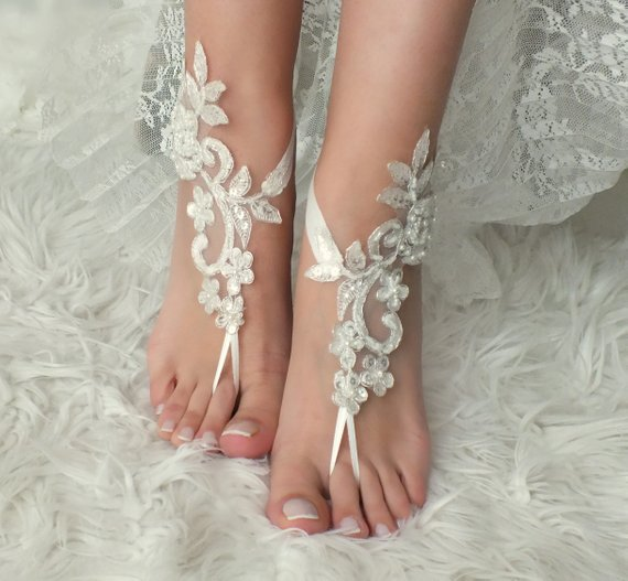 602d3d62e391 EXPRESS SHIP Beach Wedding Barefoot Sandals ivory silver lace barefoot  sandals beach shoes Bridesmaid Gift Bridal Accessories Bridal Anklets