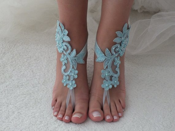 Mariage - Blue lace barefoot sandals wedding barefoot something blue lace sandals Beach wedding barefoot sandals Wedding sandals Bridal Gift