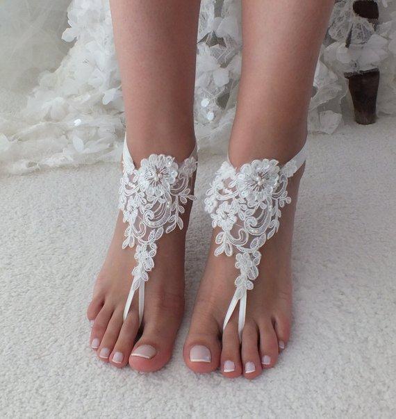 6f0bfeca9b659c Beach Wedding Barefoot Sandals Ivory Lace Beach Shoes Bridesmaids