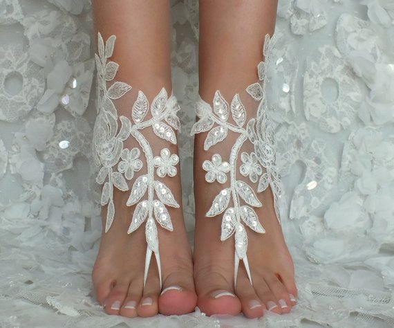 Wedding - Beach Wedding Barefoot Sandals ivory lace beach shoes Bridesmaids Gift Bridal Jewelry Wedding Shoes Bangle Bridal Accessories Bridal Anklets