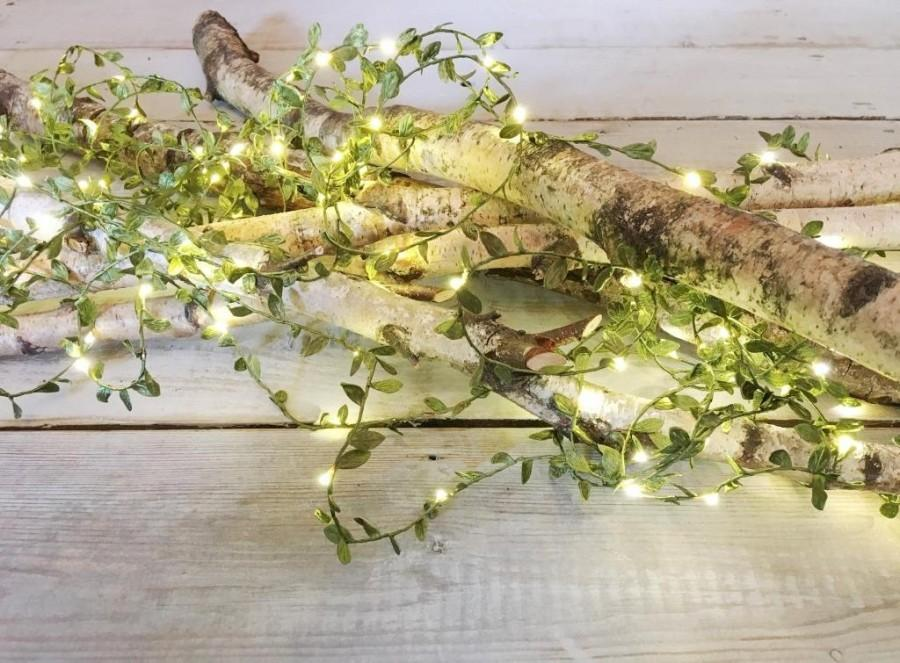 Свадьба - Even longer 5m olive leaf garland LED fairy string lights rustic wedding decoration event enchanted forest table centrepiece gift under 20