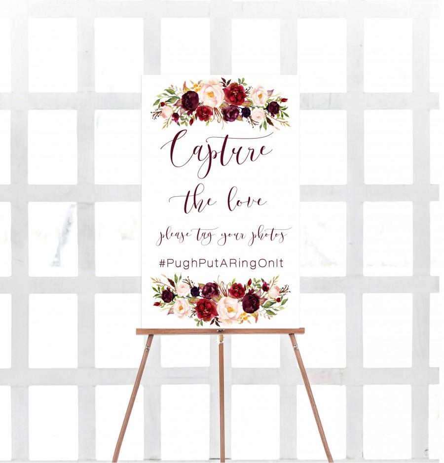 Свадьба - Marsala hashtag sign, Wedding snap sign, Capture the love,  Printable wedding sign, Marsala social media sign, Hashtag sign, Burgundy, Carry