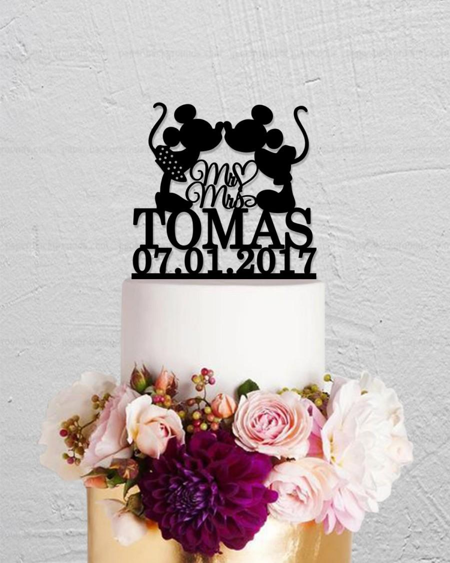 Свадьба - Wedding Cake Topper,Micky And Minnie Cake Topper,Last Name Cake Topper,Disney Cake Topper,Custom Cake Topper,Mr And Mrs Cake Topper