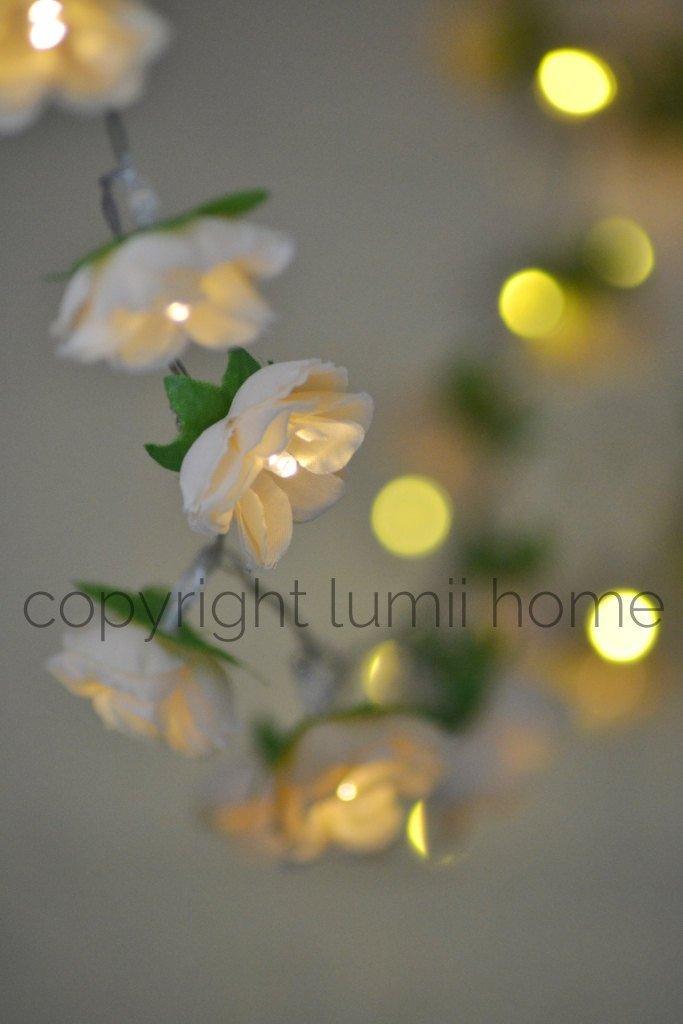 Свадьба - Antique cream Rose Flower Fairy string warm white LED Lights, bedroom decoration vintage wedding decor valentines girlfriend present gift