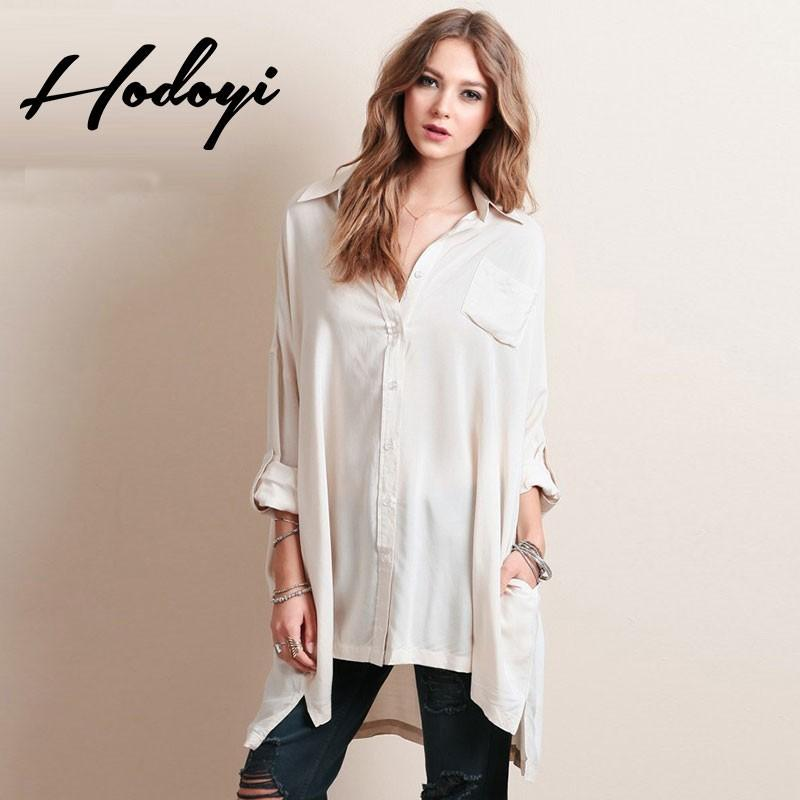Wedding - 2017 summer new fashion before short after loose roll sleeve shirt long sleeve blouse - Bonny YZOZO Boutique Store