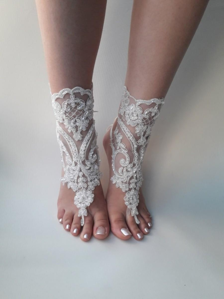 Hochzeit - Ivory barefoot sandals, Bridal shoes,  Lace sandals, Wedding anklet, Beach wedding lace sandals, Bridesmaid gift, Beach Shoes