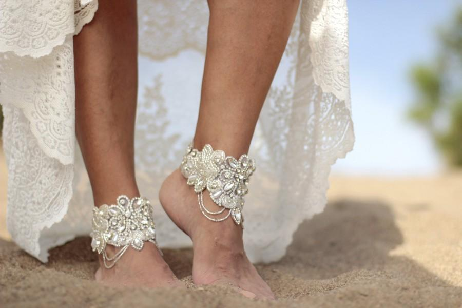 Свадьба - Fairy shine beach wedding barefoot sandals, bangle,cuff, wedding anklet,barefoot sandal,ankle cuff,boho sandal
