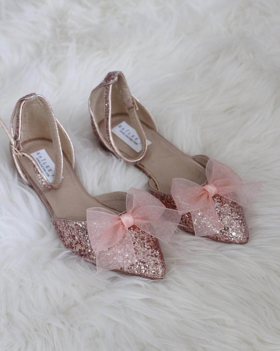 Hochzeit - Women Wedding Shoes, Bridesmaid Shoes - ROSE GOLD ROCK Glitter pointy toe flats with organza bow