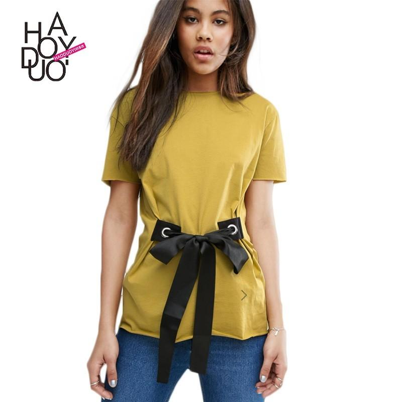 Wedding - Must-have Vogue Curvy One Color Summer Comfortable Tie Short Sleeves T-shirt - Bonny YZOZO Boutique Store
