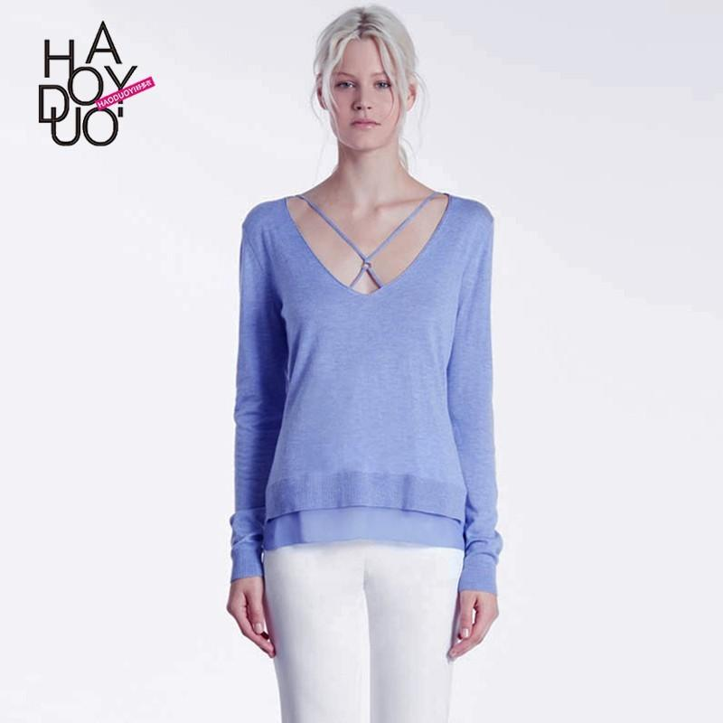 Mariage - Vogue Sexy Simple Hollow Out Crossed Straps One Color Spring Casual Sweater - Bonny YZOZO Boutique Store