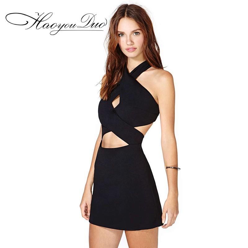 Свадьба - Sexy Open Back Sheath V-neck Sleeveless Black Dress Skirt - Bonny YZOZO Boutique Store