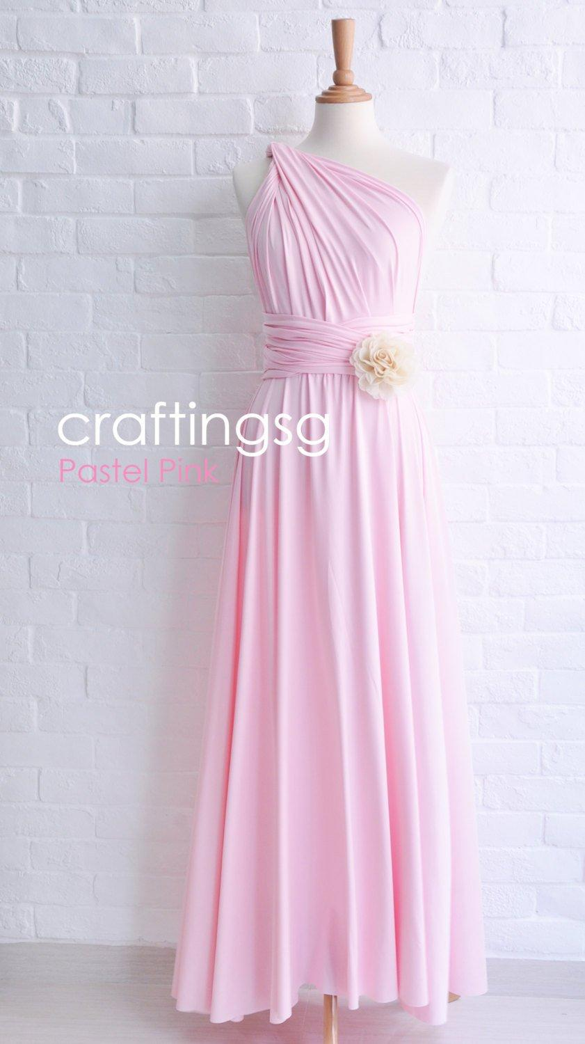 Bridesmaid Dress Pastel Pink Maxi Floor Length Infinity Dress