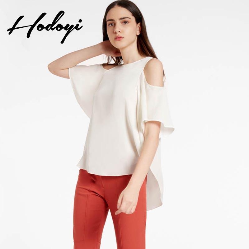 Свадьба - 2017 strapless loose spring and summer women's fashion t shirt solid colors trumpet sleeves chiffon shirt women's shirts women - Bonny YZOZO Boutique Store