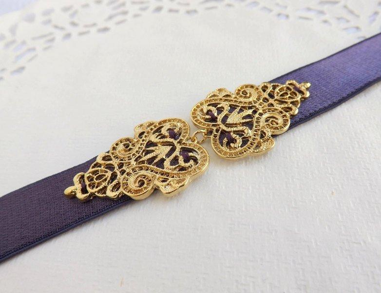 Mariage - Dark Purple Elastic Waist Belt. Gold Filigree Vintage Style Buckle. Bridal/ Bridesmaid Wedding Belt.