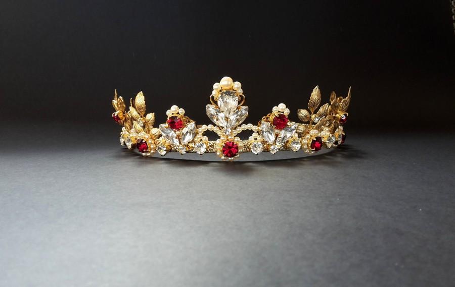 زفاف - Leaf bridal tiara red Bridal crown Wedding tiara gold Red crystal headpiece Wedding pearl crown Goddess tiara Swarovski crystal tiara pearl