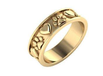 Hochzeit - Real 14kt Gold Dog Paws Wedding Bands Ring 14kt Yellow Gold Blueriver4747 Love my Dog Marriage Bands
