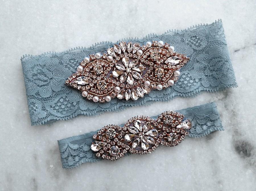 Hochzeit - Dusty Blue Wedding Garter, Rose Gold Bridal Garters, Stretch Lace Garter, Crystal Rhinestone Garter Set, Light Blue Garter, Something Blue