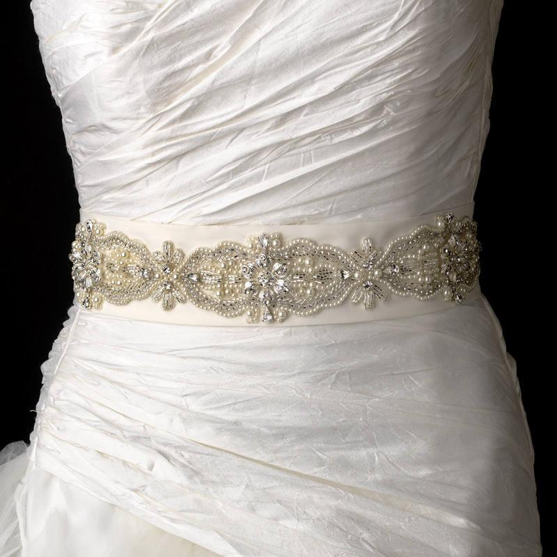 Свадьба - Faux Pearl Rhinestone & Bugle Beaded Wedding Sash Bridal Belt