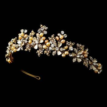 Свадьба - Gold Champagne Rum Bridal Pearl Wedding Tiara