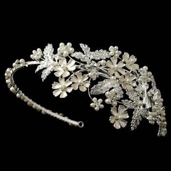 Mariage - Light Silver Rhinestone & Ivory Pearl Floral Side Headband