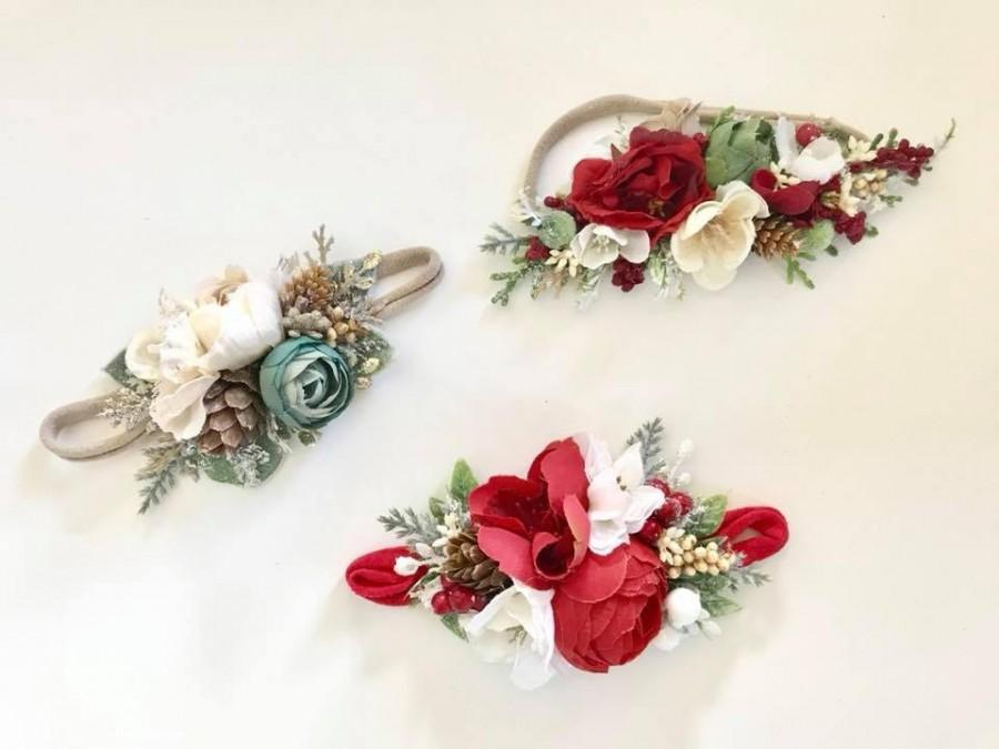 Christmas Headbands For Babies.Flower Crown Floral Crown Christmas Flower Headbands Baby