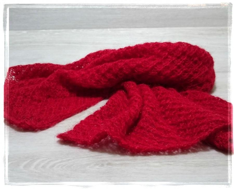 Hochzeit - Mohair scarf, Bridal lace top, Hand knit scarves, Bridal cover up, Blanket scarf, Wedding wrap, Red lace scarf, Winter scarf, gift for her