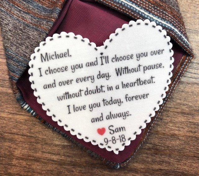 """Mariage - GROOM TIE PATCH - Groom Gift - I Choose You, Without Pause, Without Doubt, In a Heartbeat, Iron On, Sew On, 2.25"""" Heart Shaped Patch"""