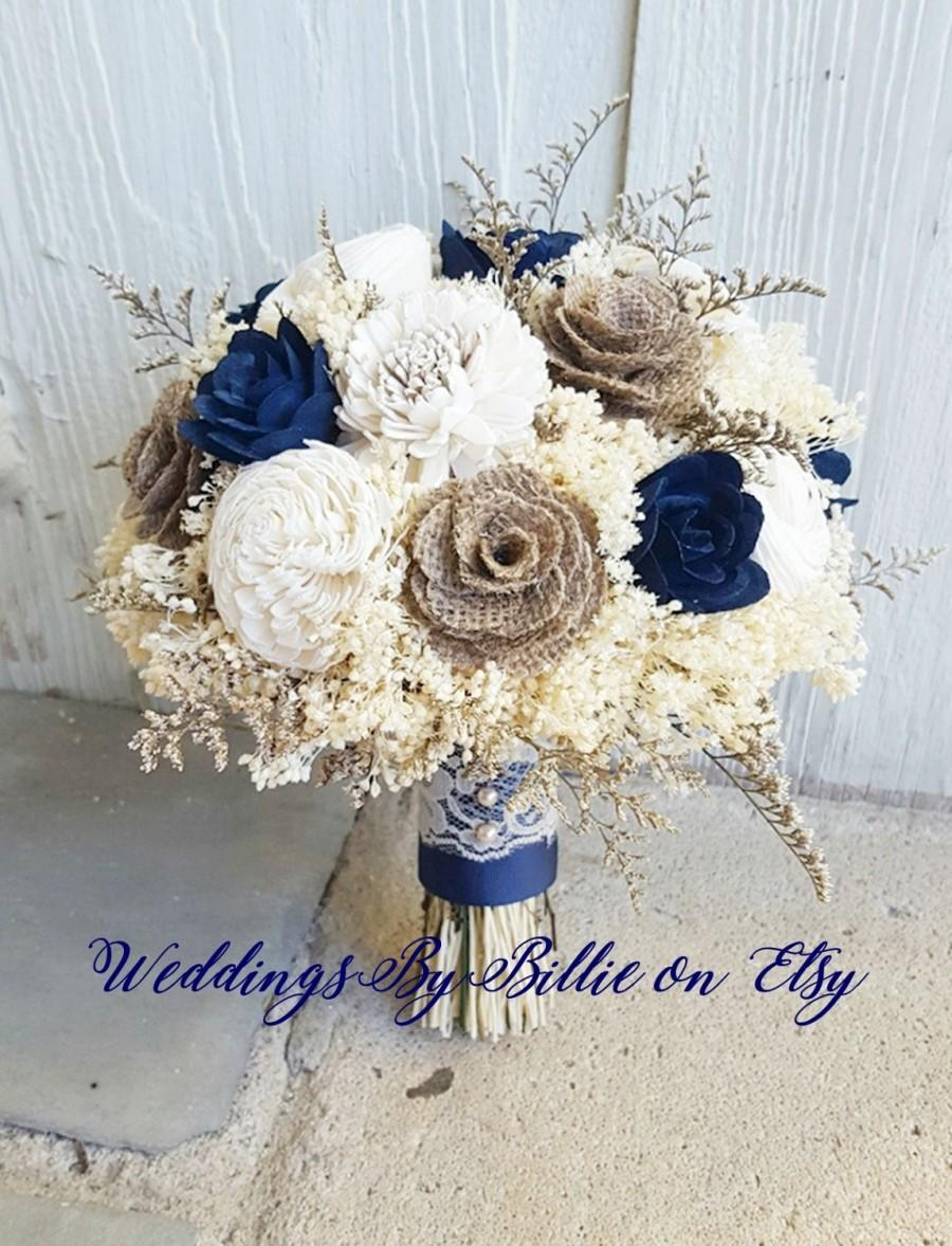 Hochzeit - Navy Ivory Sola Bouquet, Sola Bouquet, Sola Flowers, Blue Bouquet, Wedding Flowers,Rustic Shabby Chic, Bridal Accessories, Keepsake Bouquet