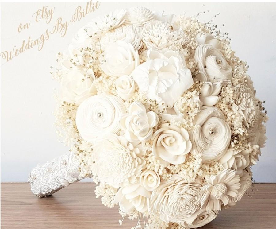 زفاف - Ivory Champagne Sola Bouquet, Sola Flowers, Weddings, Wedding Flowers, Gold Ivory Alternative Bouquet, Bridal Accessories, Keepsake Bouquet