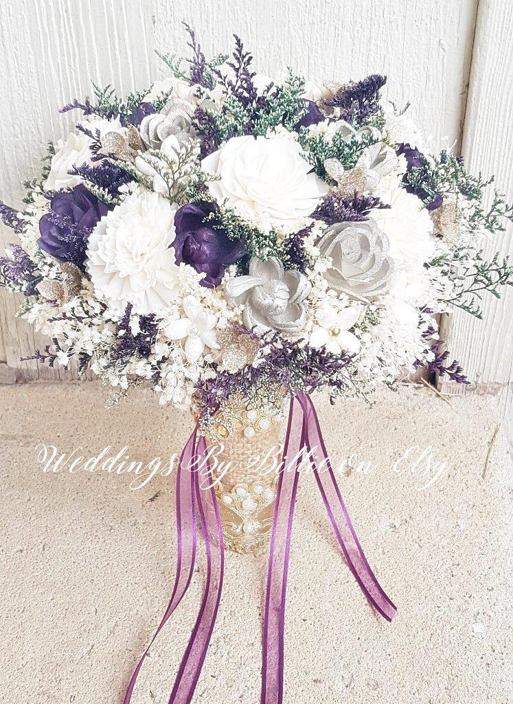Mariage - Plum Champagne Sola Flower Bouquet, Burlap Lace, Alternative Bouquet, Bridal Accessories, Keepsake Bouquet, Wedding Bouquet, Sola Flowers