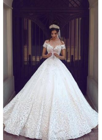 Wedding - Weiß Brautkleid Spitze Schulterfrai Prinzessin Hochzeitskleider Brautmoden Günstig Modellnummer: BA3424