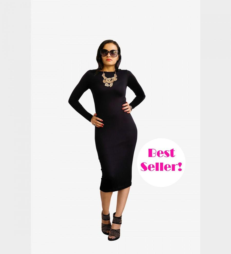 Womens Dress - Midi Dress - Long Pencil Dress - LBD Little Black ...