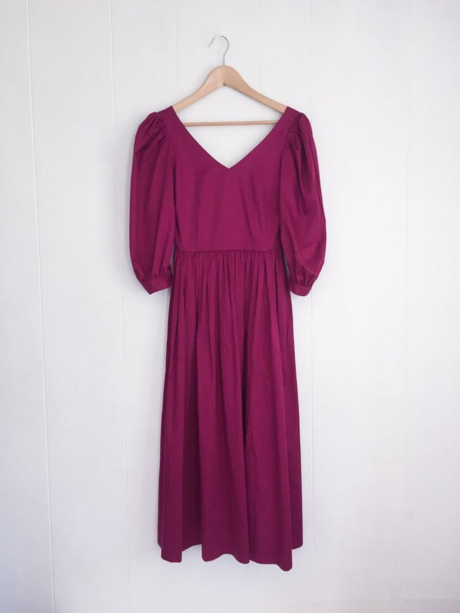 adfd7a33c2 Laura Ashley Dress - 80s Prom Dress - 80s Bridesmaid Dresses - Laura Ashley  Vintage - Puffy Sleeve Dress - Magenta Dress -Dress with Pockets