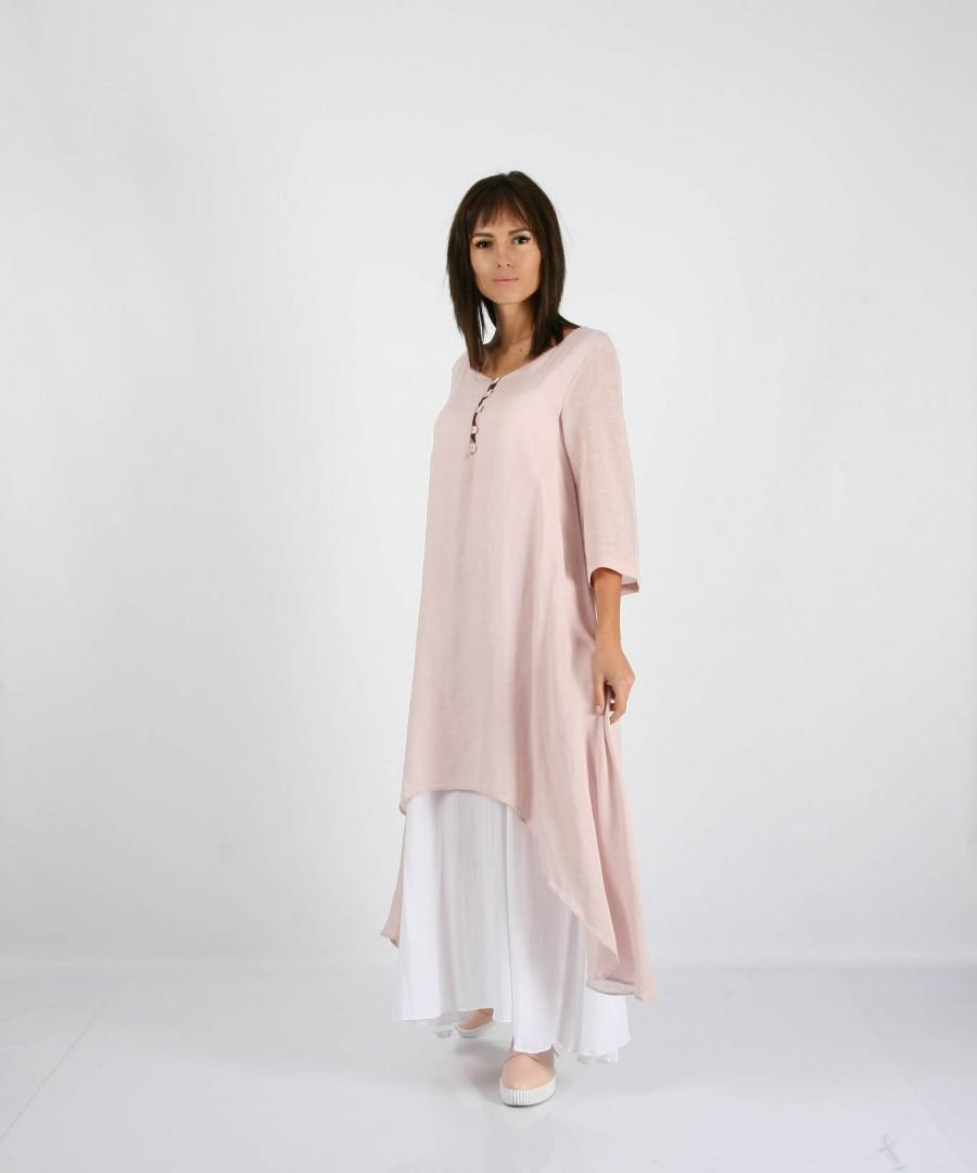 9567cb371be0 Pale Rose Long Linen Dress   Maxi Summer Dress   Long Linen Dress   Boho  Clothing   Linen Dress For Women With Sleeves   Double Layer Dress
