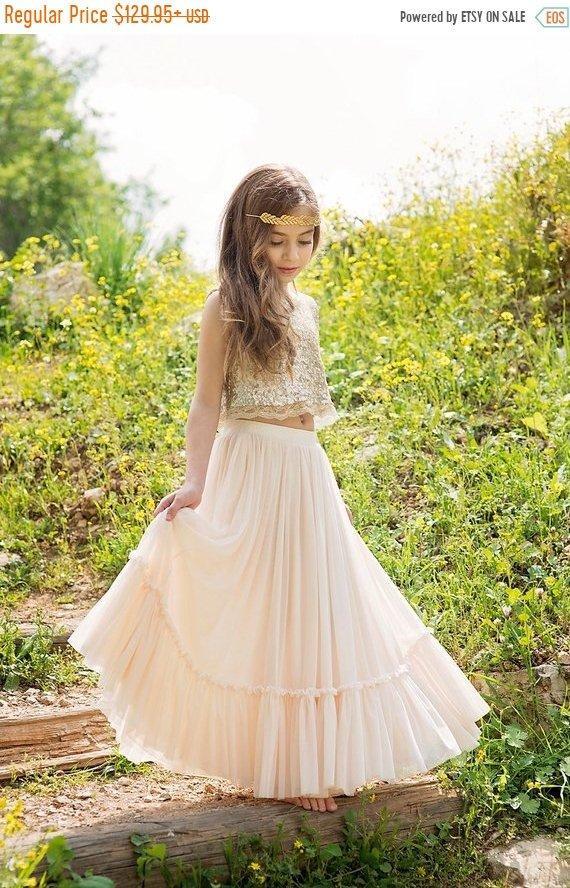 Hochzeit - BLACK FRIDAY Gold Boho-chic Flower Girl Dress, Junior Bridesmaid Dress, Boho champagne skirt and gold top set, boho flower girl dress, Bohem