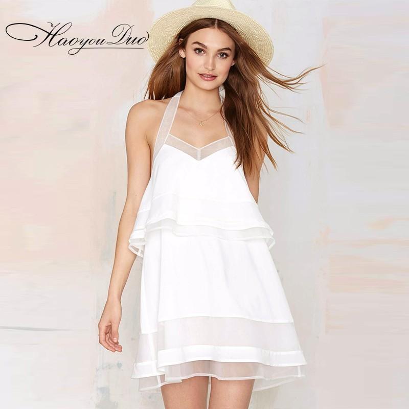 Mariage - Open Back Split Front Halter V-neck Sleeveless Chiffon Tulle Tie Dress Skirt - Bonny YZOZO Boutique Store