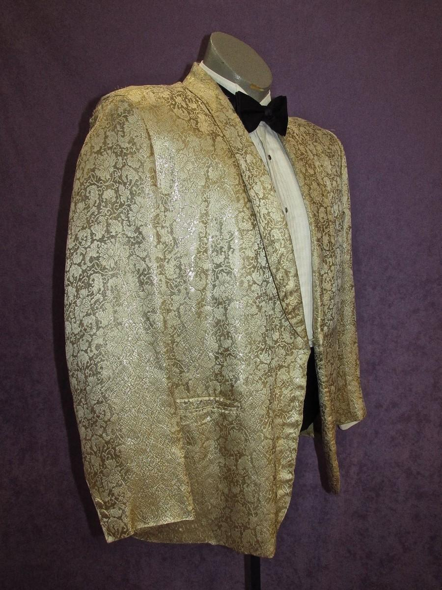 Свадьба - 50s Tux Jacket 41S- 42S Vintage Cream & Gold  Brocade Metallic Silk Floral Custom Bespoke Tuxedo by Sita's British Crown Colony of Hong Kong